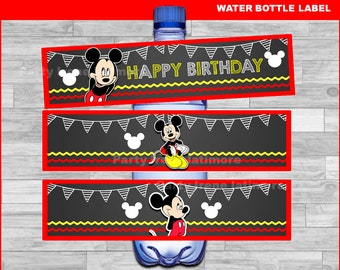 Mickey Mouse water bottle labels Instant download, Mickey Mouse Chalkboard water labels, Mickey water labels