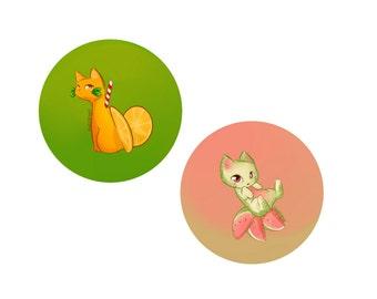 Fruit cat buttons