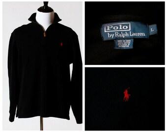 Vintage Men's Sweater Pullover - Polo Ralph Lauren 90s Retro Large Black Zipper