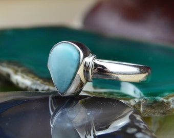 Teardrop shaped Larimar stone and sterling silver ring size 6