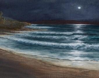 Beach art, coastal decor, moonlight painting, original, small art, surf art, Costa Rica paintings, Moon over Playa Delfien