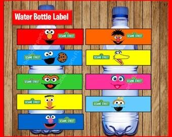 Sesame Street Water Bottle Label instant download, Printable Sesame Street party Water Bottle Label, Elmo Water Bottle