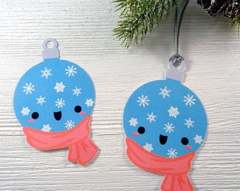 Snowy Christmas Ball Gift Tags Cute Kawaii Holiday Labels for Xmas Gifts