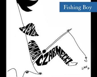 Personalized Silhouette Boy Fishing
