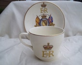 Coronation of Queen Elizabeth II June 2, 1953. Official Coronation Design Cup & Saucer by Pareek H. Johnson Brothers China Made in England
