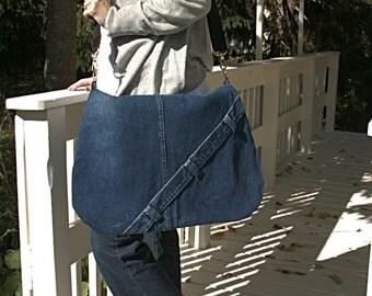One of a Kind Upcycled Denim Messenger Bag