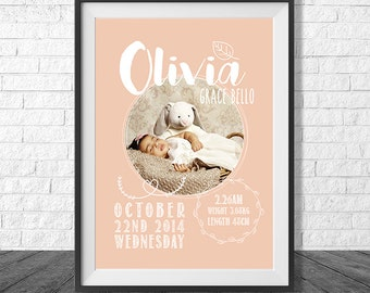 Circle Script Birth Print | Personalised Birth Announcement | Nursery Poster | Digital Decor Print
