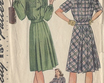 "1944 Vintage Sewing Pattern B32"" DRESS (176) Simplicity 1192"