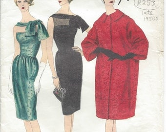 "1950s Vintage VOGUE Sewing Pattern COAT & DRESS B32"" (R253R) 'Guy Laroche' Vogue 1492"