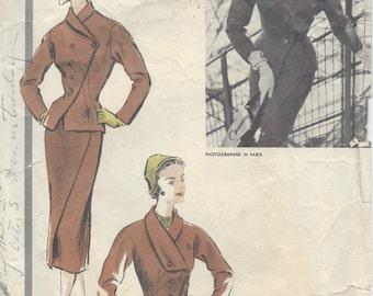 1954 Vintage VOGUE Sewing Pattern B36 SUIT - Skirt & Jacket (R988) By 'Desses' Vogue 1288