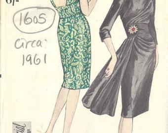 "1961 Vintage VOGUE Sewing Pattern B32"" DRESS (1605)  Vogue 5650"