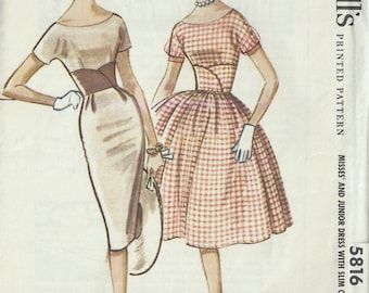 1961 Vintage Sewing Pattern B34 DRESS (1552)  By McCall's 5816