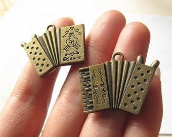 Accordion Charm Pendant Antique Brass Drop Handmade Jewelry Finding 27x33mm