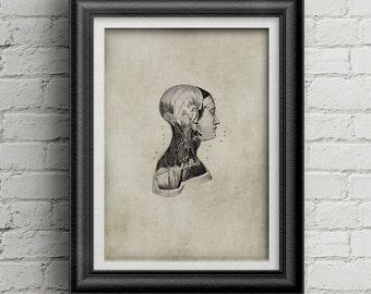 Anatomy  head print 021 - medicine poster - antique print - head illustration - medicine poster deco - ancient anatomy