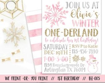 Winter Onederland Invitation, Girl One-derland Birthday Invitation, Winter First Birthday Invitation, Onederland Party, Pink Onederland