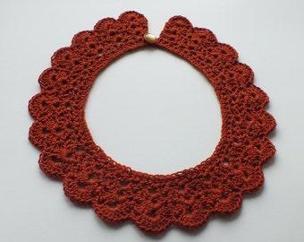 Crochet Collar Brown Collar Women Accessory