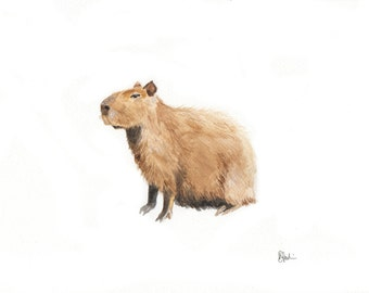 A5 Capybara Watercolour Print - Original Handmade Art Print