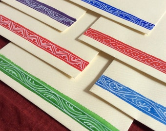 Medieval White Lines, 6 Hand-Decorated Envelopes