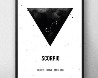 Printable artwork,Scorpio Zodiac Print, Printable astrology,Scorpio Zodiac Sign,Zodiac Art,Astrology Print , watercolor artwork , Geometric