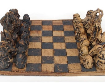 Items similar to chess set literary chess set chess for the library hand carved custom themed - Ceramic chess sets for sale ...