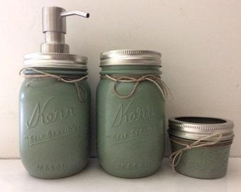 Sage Green Mason Jar Bathroom Set, Sage Green Bathroom Set, Mason Jar Bathroom Set, Green Bathroom Set, Green Mason Jar Bathroom Set
