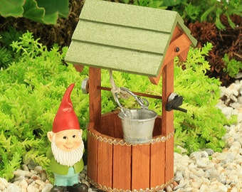 Wooden Wishing Well & Gnome, Fairy Garden Furniture, Fairy Garden Accessories, Gnome Garden