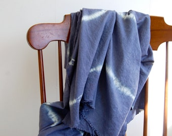 Hand-dyed Linen-Rayon Shibori Blanket Throw in Postman Blue - Raw Edges