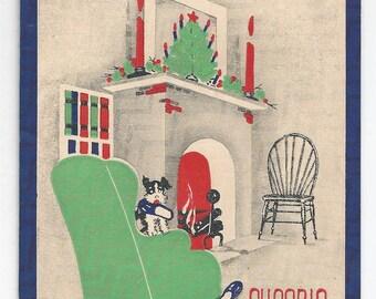 """1950s Cozy Vintage Christmas Card """"Cheerio"""""""