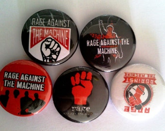 "5 x Rage Against The Machine 1"" Pin Button Badges music"