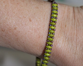Olive superduo beaded bracelet