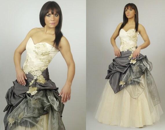 Lady Angel Free Shipping Short Beige Chiffon Bridesmaid: Gracjana BEIGE And GRAPHITE Prom Dresscoctail Dress Tulle