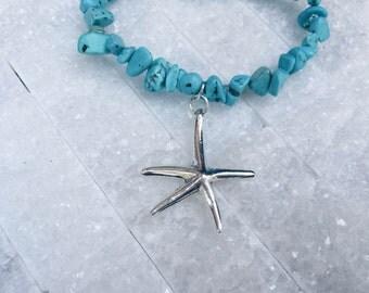 Starfish Bracelet ~ Stone Bracelet ~ Turquoise Beads ~ Turquoise Bracelet ~ Silver Charm