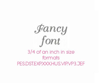 Fancy font embroidery alphabet in 3/4 of an inch in size