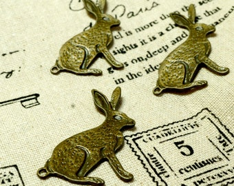 Rabbit hare bunny charms 5 antique bronze vintage style pendant charm jewellery supplies C24