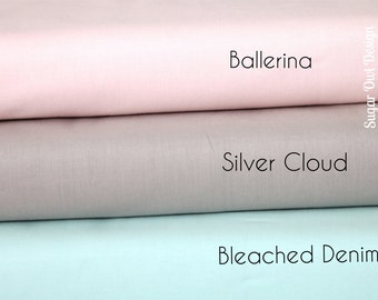 Cotton Fabric Set - Riley Blake Solids - Taupe Fabric , Soft Pink Fabric , Light Blue Fabric