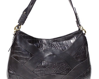 Black Leather Hobo   417NYC Black Interlace