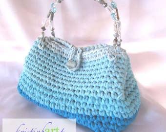 Blue Recycled T-shirt Handbag / Handmade Crochet / Cotton / Women's Gift Idea / Blue / Acrylic / Glass / Beads / Wire