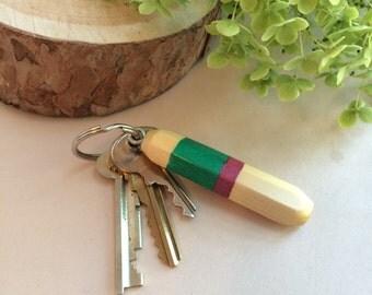 Wood Keychain, handmade