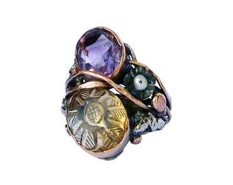 anello con ametista,citrino inciso,tormalina,argento e oro rosa