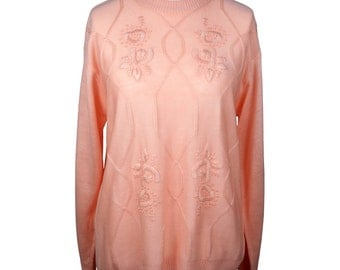 Peach Pink Embroidered Jumper UK 14