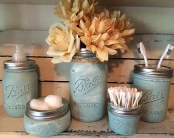 Mason jar 5 piece bathroom set