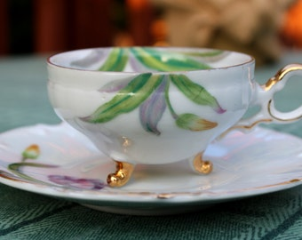 Vintage VCAGO Demitasse Cup and Saucer - Purple and Gold Tulip Floral with Gilt Trim