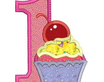 Birthday Cupcake Applique Machine Embroidery Design 3 sizes instant download