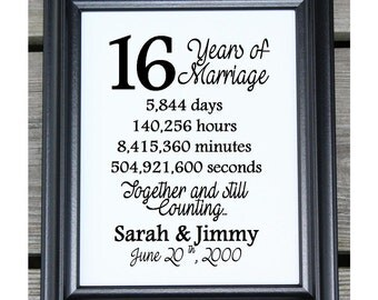 16th wedding anniversary cotton print 16th wedding gift 16 years ...