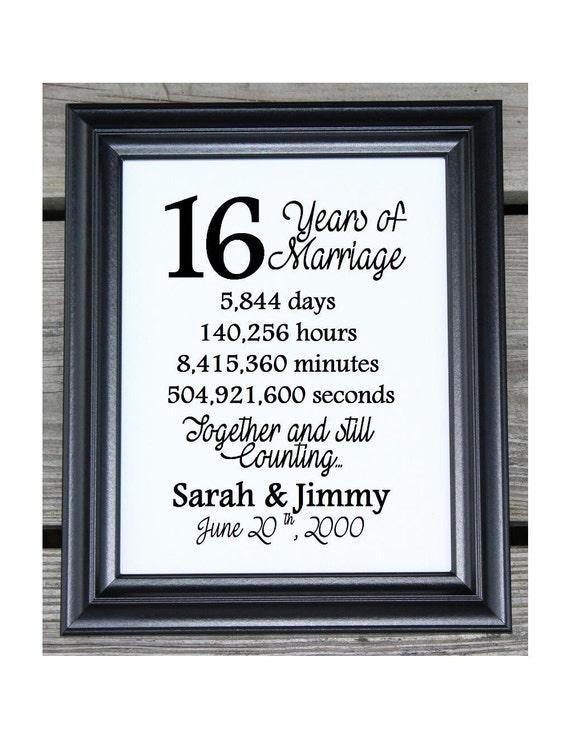 16th Wedding Anniversary Cotton Print 16th Wedding Gift 16