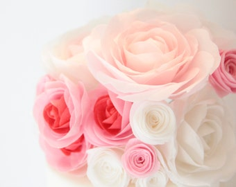 Edible Wafer Paper Large Garden Rose for Wedding and Special Occasion Cakes; Keepsake; Wafer Paper Rose; Rose topper; Edible rose; Easy DIY