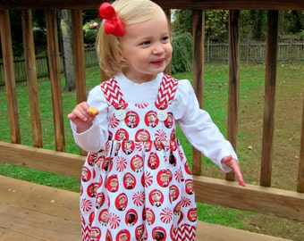 Red and White peppermint elf Holiday Dress with cheverons knot dress,  family celebration