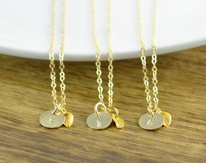 Gold Leaf Necklace - Leaf Necklace Gold - Gold Initial Necklace - Initial Necklace -  Personalized, Gold Necklace Charm -  Nature Necklace