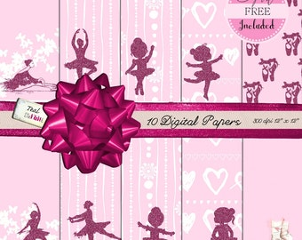 10 Digital Papers with Pink Glitter Ballerinas with Free Clip Art Included Digital Scrapbooking Glitter