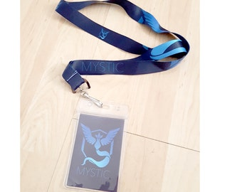 "Pokemon Go Plus Lanyard ""Team Mystic"" w/ Blue ID Badge Card"